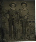 Photography:Tintypes, Sixth Plate Tintype of a Pair of Young Cowboys With Revolvers....