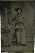 Photography:Tintypes, Sixth Plate Tintype of Cowboy Wearing Fancy Chaps....