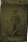 Photography:Tintypes, Sixth Plate Tintype of Cowboy Wearing Fringed Chaps and MilitaryHolster....