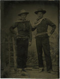Photography:Tintypes, Sixth Plate Tintype of Two Fierce Cowboys, circa 1860....