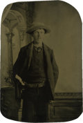 Photography:Tintypes, Sixth Plate Tintype of a Cowboy Wearing a Revolver....