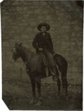 Photography:Tintypes, Sixth Plate Tintype of a Cowboy on His Horse....