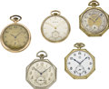 Timepieces:Pocket (post 1900), Lot of Five Men's Pocket Watches, circa 1910. ...