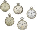 Timepieces:Pocket (post 1900), Lot of Five Elgin Pocket Watches, circa 1910 to 1927. ...