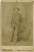 Photography:Cabinet Photos, Cabinet Card of Cowboy With Pistol and Chaps....