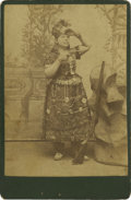 Photography:Cabinet Photos, Cabinet Card of Indian Woman Sharpshooter in Beaded Costume....