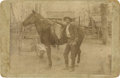 Photography:Cabinet Photos, Outdoor Scene Cabinet Card of Cowboy and Horse, circa 1880s....