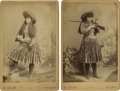 Photography:Cabinet Photos, Two Cabinet Cards of Female Wild West Sharpshooter with Rifle, 1889.... (Total: 2 Items)