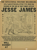 Antiques:Posters & Prints, Jesse James Motion Picture Advertising Broadside, circa1905-1915....