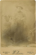 Photography:Cabinet Photos, Cabinet Card of Unknown Armed Cowboy, circa 1890s....