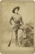 Photography:Cabinet Photos, Excellent Cabinet Card of Native American Cowboy, circa 1890s....
