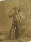 Photography:Cabinet Photos, Cabinet Card of Pistol Wielding Cowboy....