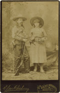 "Photography:Cabinet Photos, Cabinet Card of A.O. Babel, the ""Original Texas Cowboy Pianist,""and Miss Mattie Babel, ""Cow Girl Cornetist"" circa 1880s...."