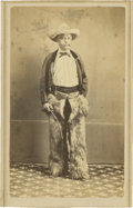 "Photography:CDVs, Carte de Visite of Cowboy With Whip and Wearing ""Woolie"" Chaps...."
