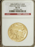 Modern Bullion Coins, 2006 $50 Buffalo First Strikes MS70 NGC. PCGS Population (371/0).Numismedia Wsl. Price for NGC/PCGS co...