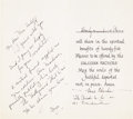 Movie/TV Memorabilia:Autographs and Signed Items, Mae Clarke Condolence Card to Mrs. Boris Karloff....