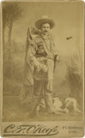 Photography:Studio Portraits, Cabinet Card of Buckskin Cowboy With Lever-Action Rifle and Dog....