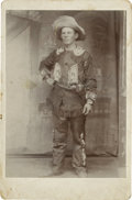 Photography:Cabinet Photos, Cabinet Card of Armed Cowboy Wearing Beaded and FringedClothing....