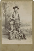 Photography:Cabinet Photos, Cabinet Card of Unidentified Hunter with Dog, circa 1880s....