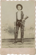 Photography:Cabinet Photos, Handsome Scallop-Edged Cabinet of Unknown Cowboy, circa 1890s....
