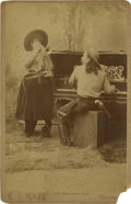 "Photography:Cabinet Photos, Terrific Cabinet Card of A.O. Babel, the ""Original Texas CowboyPianist,"" and Miss Mattie Babel, ""Cow Girl Cornetist.""..."