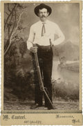 Photography:Cabinet Photos, Scallop-Edged Cabinet of Unidentified Armed Cowboy, circa 1893....