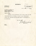 Autographs:Jerseys, 1938 Kenesaw Mountain Landis Signed Typed Letter....