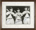 "Autographs:Photos, Ted Williams, Mickey Mantle And Joe DiMaggio Signed Framed 11"" x 14"" Photo...."