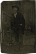 Photography:Tintypes, Sixth Plate Tintype of Menacing Looking Man With Colt RootRevolver.. ...