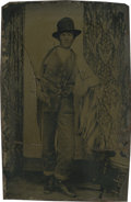 Photography:Tintypes, Sixth Plate Tintype of a Man With Bullwhip....