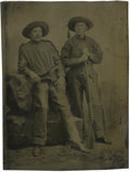 Photography:Tintypes, Sixth Plate Tintype of a Pair of Cowboys in Fringed Clothing....
