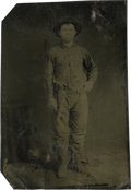 Photography:Tintypes, Sixth Plate Tintype of a Young Cowboy With a Pistol....