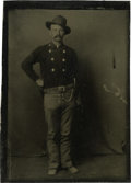 Photography:Tintypes, Sixth Plate Tintype of Cowboy With Pistol....