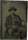Photography:Tintypes, Sixth Plate Tintype of a Young Bullwacker Holding a Bullwhip .. ...