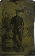Photography:Tintypes, Sixth Plate Tintype of Cowboy With Pistol, Chaps, and BibbedShirt....