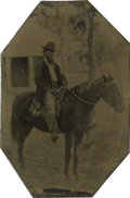 Photography:Tintypes, Sixth Plate Tintype of Bearded Man on Horse....
