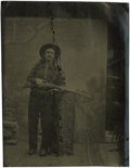 Photography:Tintypes, Sixth Plate Tintype of Cowboy With Winchester Lever-ActionRifle....
