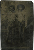 Photography:Tintypes, Sixth Plate Tintype of Two Young Cowboys Wearing Chaps....