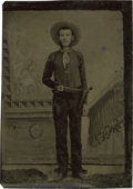 Photography:Tintypes, Sixth Plate Tintype of Cowboy Armed With Revolver and SportingMuttonchops....