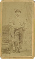 Photography:CDVs, Carte de Visite of Man With Pistol and Binoculars Case....