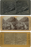 Photography:Stereo Cards, Lot of Three Stereoviews of Mining Towns.... (Total: 3 Items)