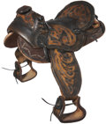Western Expansion:Cowboy, Miniature Hand Tooled Leather Saddle, circa 1930s....