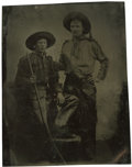 Photography:Tintypes, Sixth Plate Tintype of Two Young Cowboys....