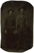 Photography:Tintypes, Sixth Plate Tintype of Two Cigar Smoking Cowboys With Pistols....