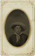 Photography:Tintypes, Sixth Plate Tintype of Cowboy Wearing Large Hat....