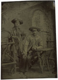 Photography:Tintypes, Sixth Plate Tintype of Two Men Wearing Fringed Buckskin Jackets....