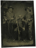Photography:Tintypes, Sixth Plate Tintype of a Trio of Armed Men....