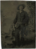 Photography:Tintypes, Sixth Plate Tintype of a Young Man Holding a Single ActionRevolver....