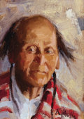 Western:20th Century, RAY VINELLA (American, b. 1933). Taos Indian, 1970s. Oil on board. 7-1/2 x 5-1/4 inches (19.1 x 13.3 cm). Signed lower r...