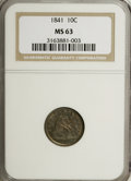 Seated Dimes: , 1841 10C MS63 NGC. NGC Census: (11/33). PCGS Population (18/18). Mintage: 1,622,500. Numismedia Wsl. Price for NGC/PCGS coi...